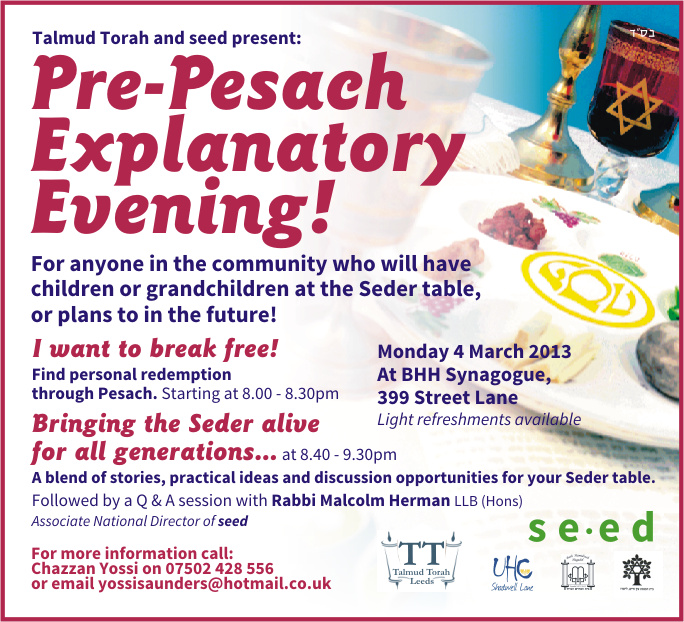 Leeds Pesach Feb 2013 email